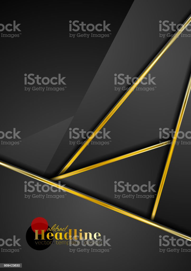 Black abstract corporate background with golden stripes vector art illustration