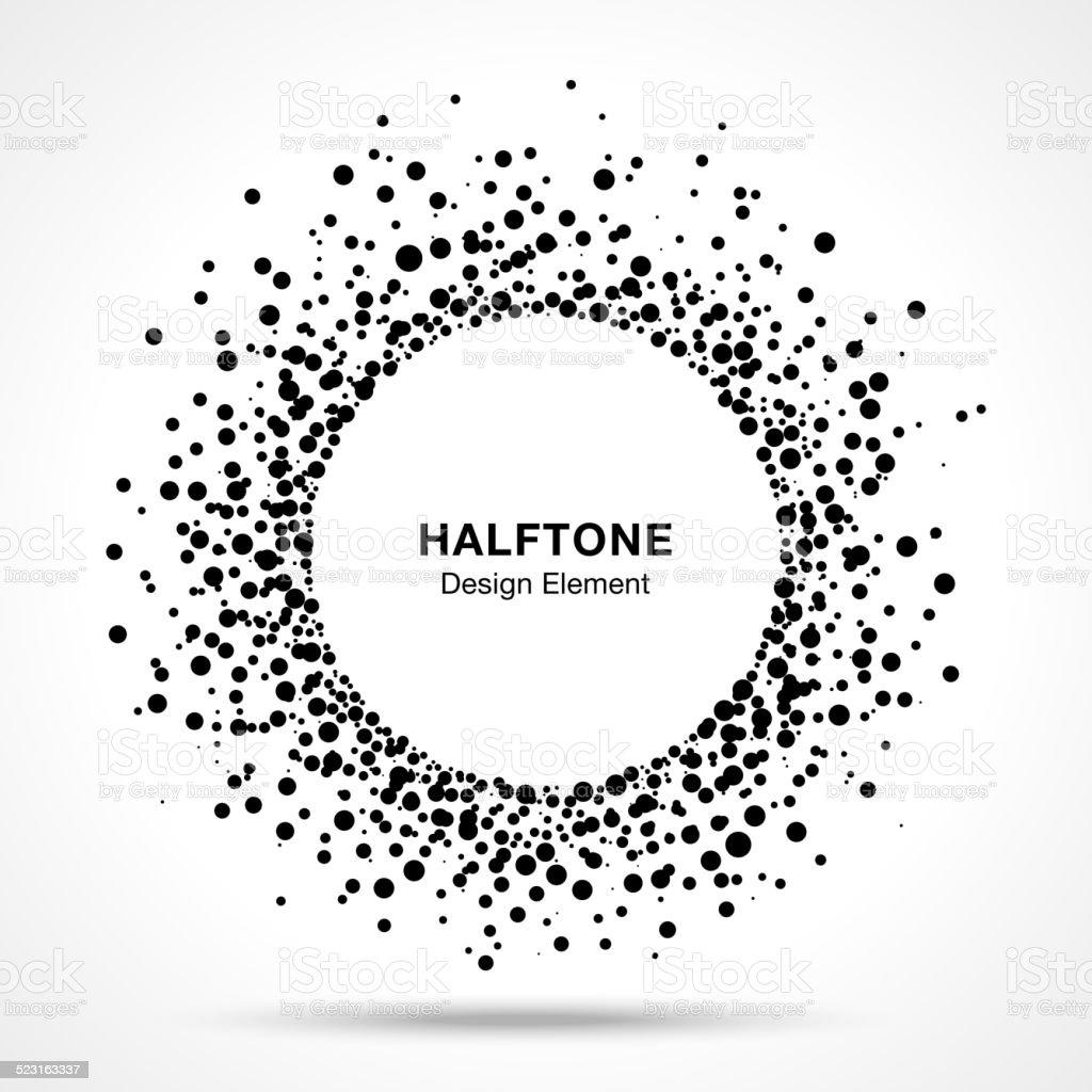 Black Abstract Halftone Logo Design Element vector art illustration