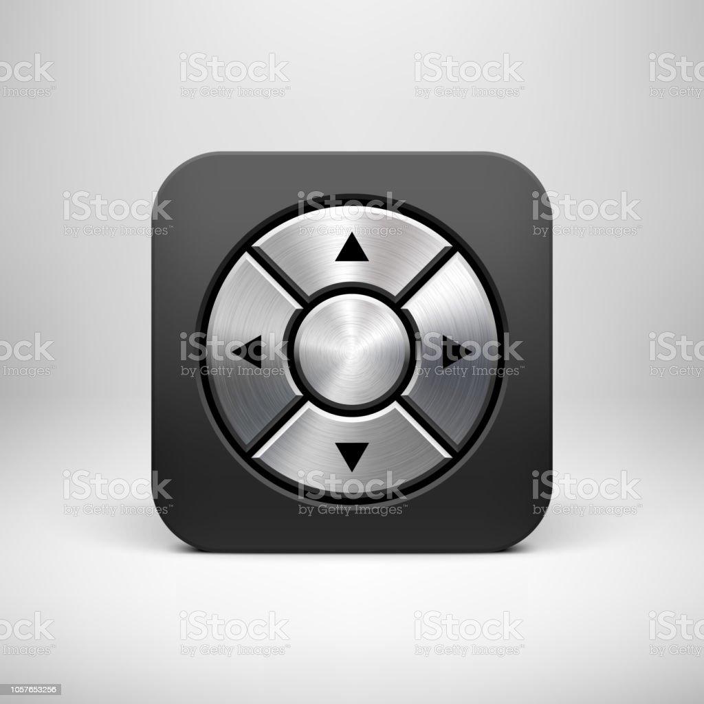 Black Abstract Joystick App Icon Button Template Stock