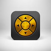 Black abstract technology app icon, joystick button template with arrows, gold metal texture (steel, chrome, silver), realistic shadow and light background for user interfaces, UI, applications, apps.