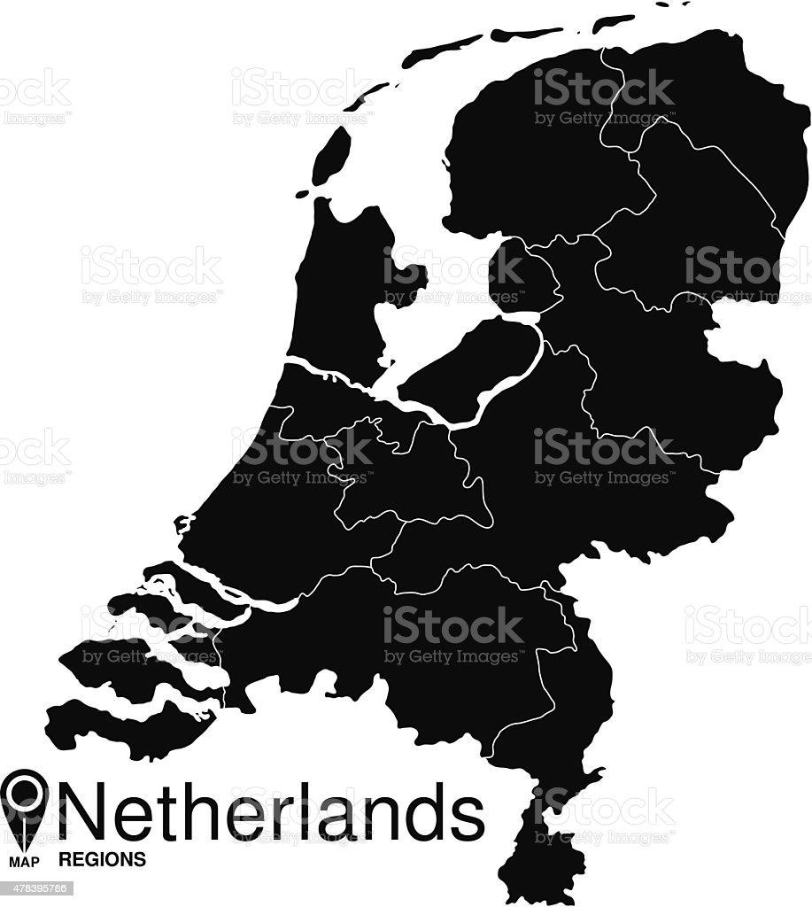 Black abstract map of Netherlands vector art illustration