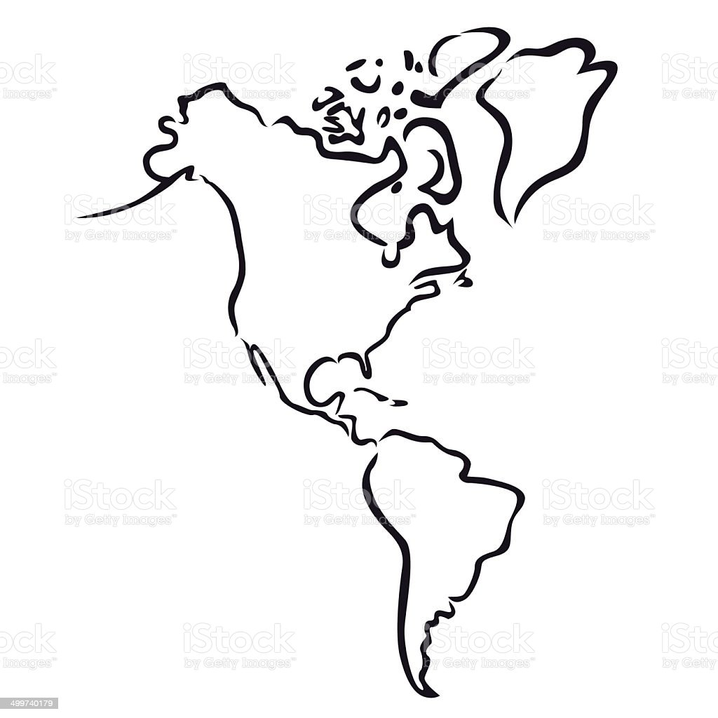 black abstract outline of North and South America map vector art illustration