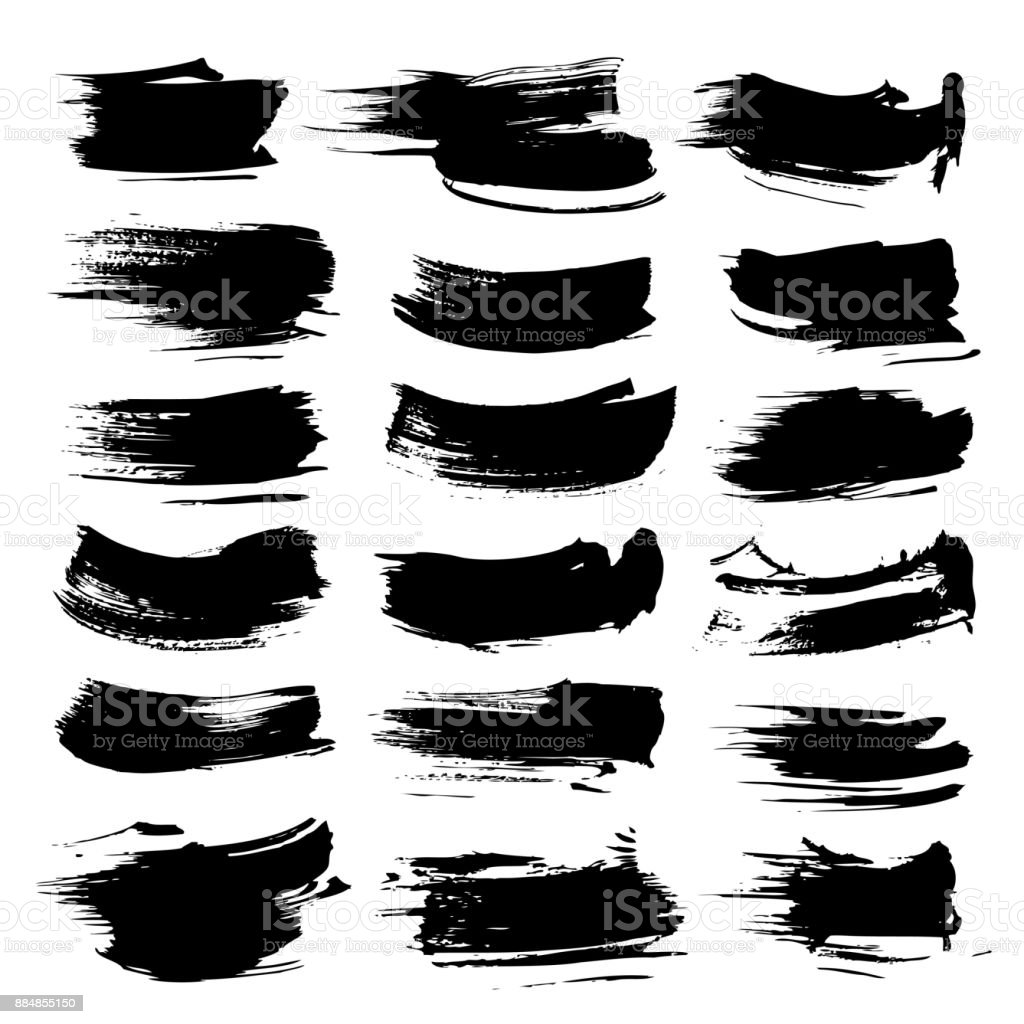 Black abstract textured strokes vector objects isolated on a white background vector art illustration
