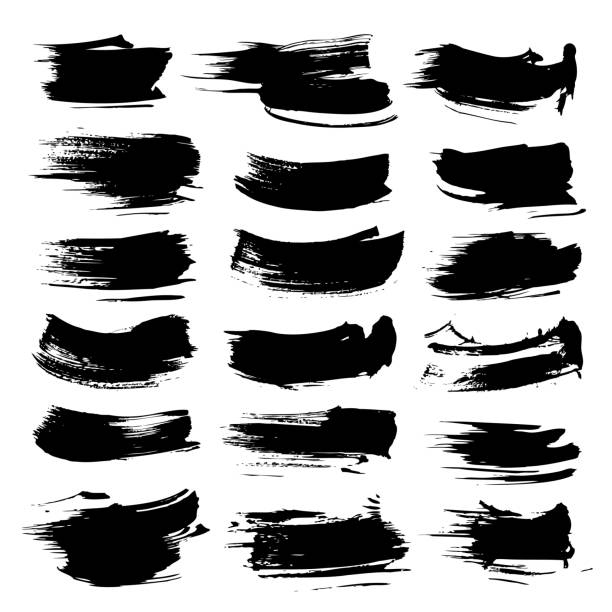 black abstract textured strokes vector objects isolated on a white background - uderzać stock illustrations