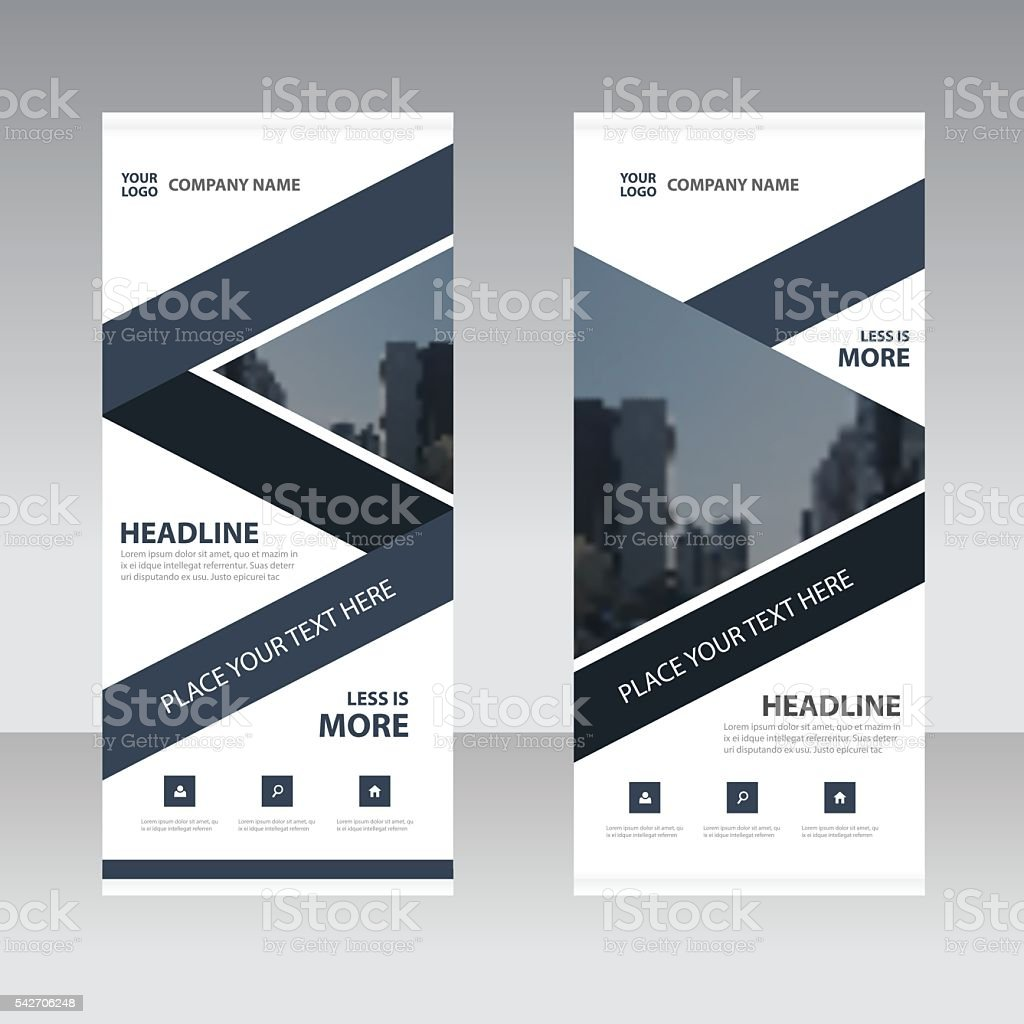 black abstract triangle business roll up banner flat design template