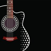 Black acoustic guitar with star pattern on black background