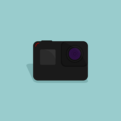 Black action camera vector illustration