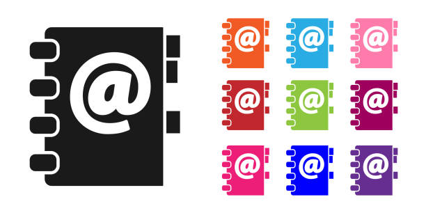 Black Address book icon isolated on white background. Notebook, address, contact, directory, phone, telephone book icon. Set icons colorful. Vector Illustration Black Address book icon isolated on white background. Notebook, address, contact, directory, phone, telephone book icon. Set icons colorful. Vector Illustration business clipart stock illustrations