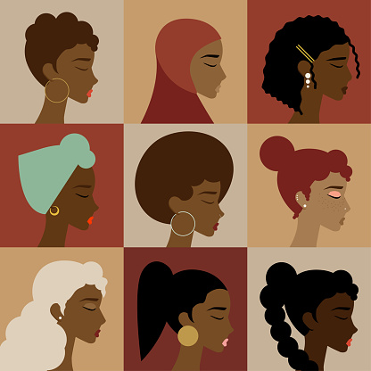 Black, African, African American Female Character Icon Set, Diversity Concept