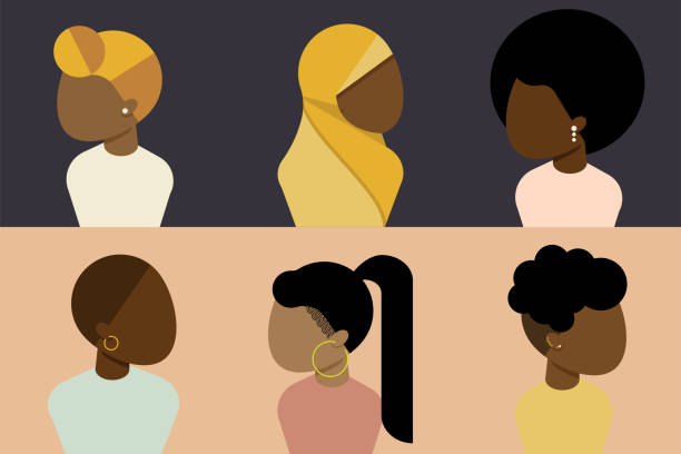 Black, African, African American Female Character Set, Diversity Concept Black, African, African American Female Character Set, Diversity Concept african american ethnicity stock illustrations