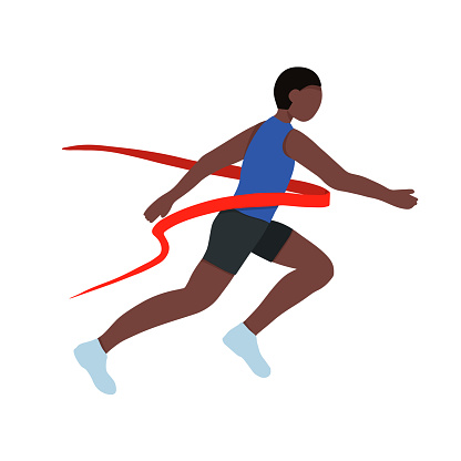 A black African American athlete. A fast runner crosses the finish line. Winner of a running competition. Vector illustration