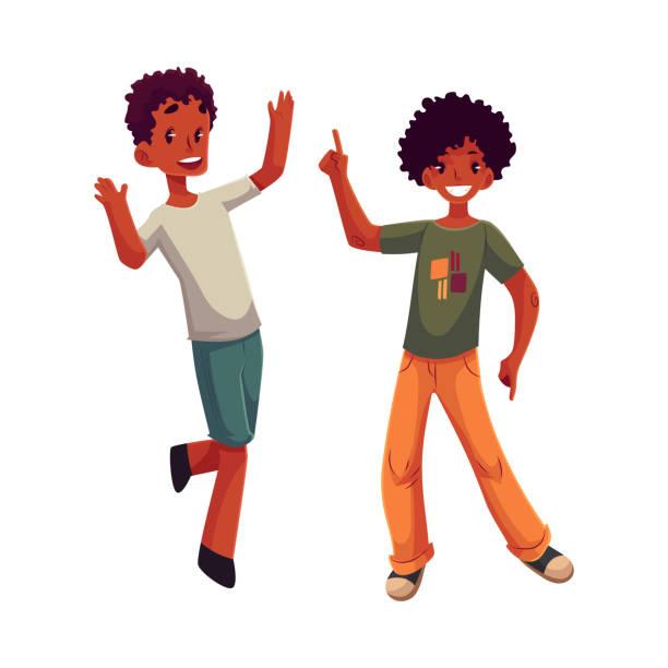 Black, African American boys, kids having fun, dancing at party vector art illustration