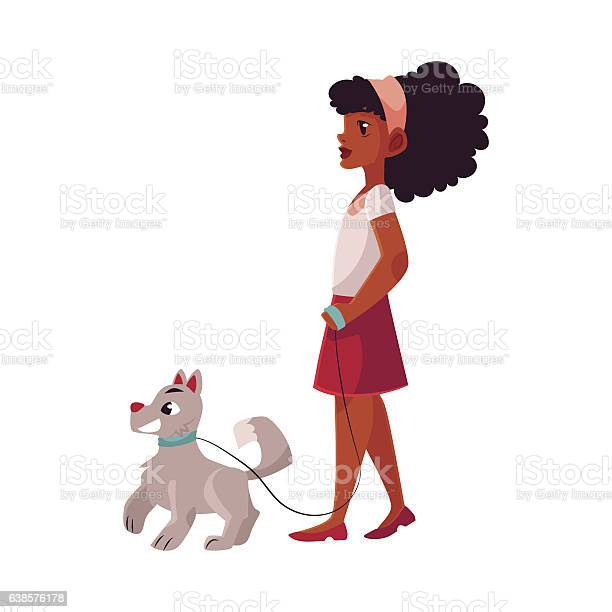 Black african american girl walking with dog on loose leash vector id638576178?b=1&k=6&m=638576178&s=612x612&h=trd4bob2cgnyxgkemhrdup gw2olslgkg2rkpmowu9e=