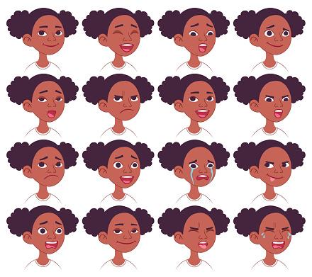 Black African American girl's facial emotions set.