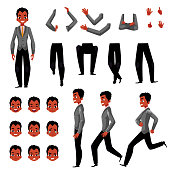 Black, African American man character creation set with different gestures and emotions, cartoon vector illustration on white background. Black man creation set, constructor, changeable face arms legs
