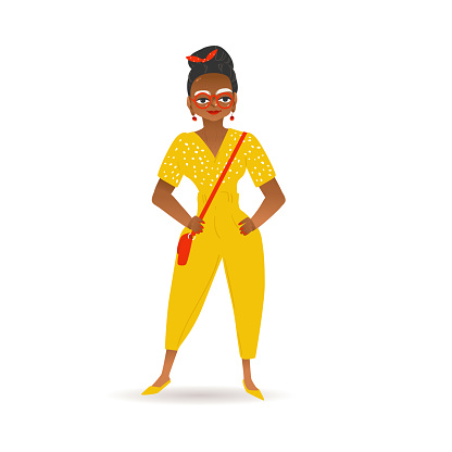 A Black African American Woman Or Girl Is Standing In Yellow Pants