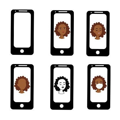 Black African girl on the phone screen. Emotions of a woman on the screensaver of a smartphone. Remote communication using gadgets. Stock vector illustration for business, internet, social networks.