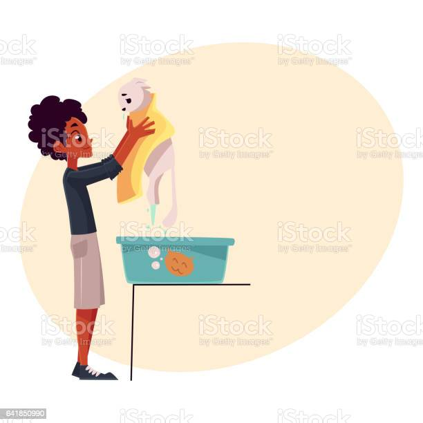 Black african teenage boy washing bathing white cat vector id641850990?b=1&k=6&m=641850990&s=612x612&h=53sk84ttrjdpwa tj7qvxfpbe97efn9vuoah65deffa=