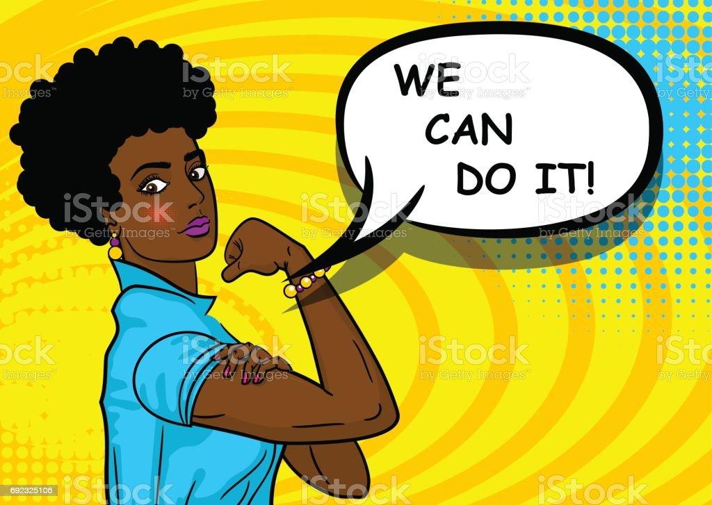 Mulher negra afro-americana podemos fazê-lo - ilustração de arte em vetor