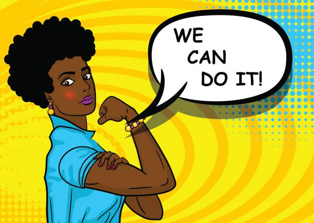 black african-american woman we can do it - black power stock illustrations