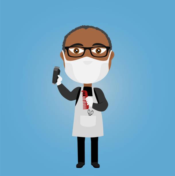 schwarz afro afrikanischen dunkelhäutige friseur friseur mit virus maske weiße handschuhe elektrische rasierer schere kommen schürze und brille - friseur lockdown stock-grafiken, -clipart, -cartoons und -symbole
