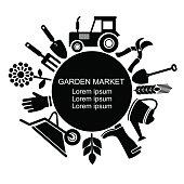 Garden market logo. Black vector agriculture and farm icon.