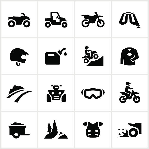 Black All Terrain Vehicle Icons ATV, UTV and motorcycle related icons. All white strokes/shapes are cut from the icons and merged allowing the background to show through. quadbike stock illustrations