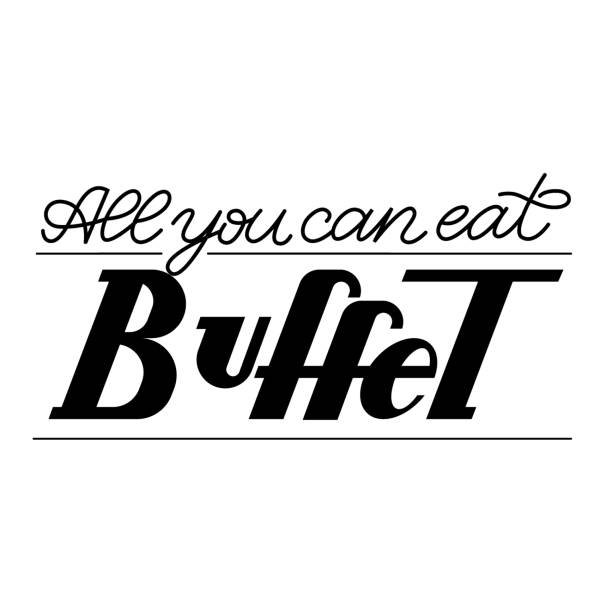 Black All you can eat Buffet lettering vector illustration on white background. Restaurant, cafe sign and logo vector art illustration