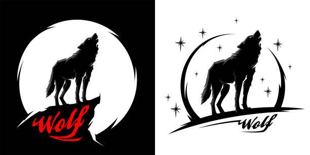 bildbanksillustrationer, clip art samt tecknat material och ikoner med svart alfa hane ensam varg vektor - varg