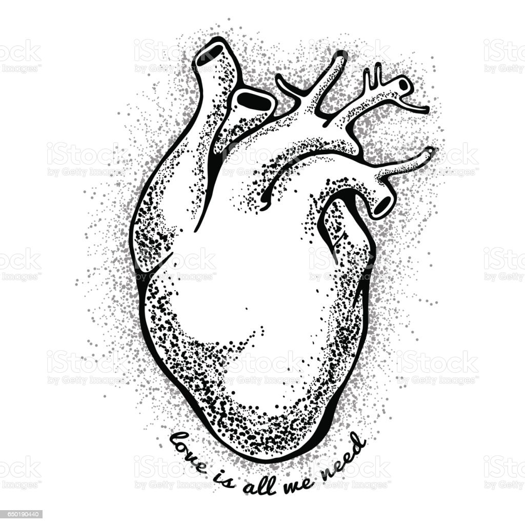 Black Anatomical Heart Tagline Love Is All We Need Valentines Day ...