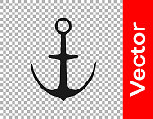 Black Anchor icon isolated on transparent background. Vector.