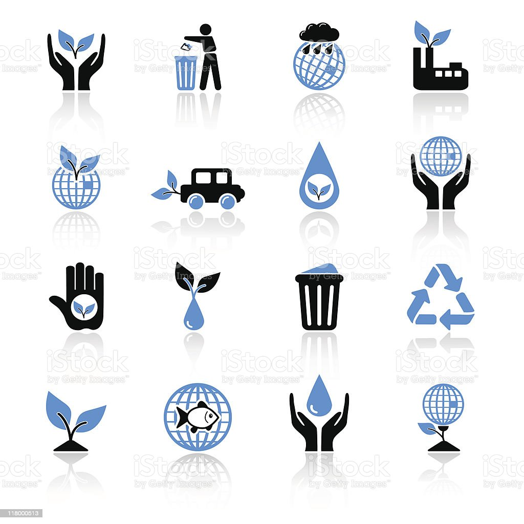 Black and blue ecology icons on a white background royalty-free stock vector art