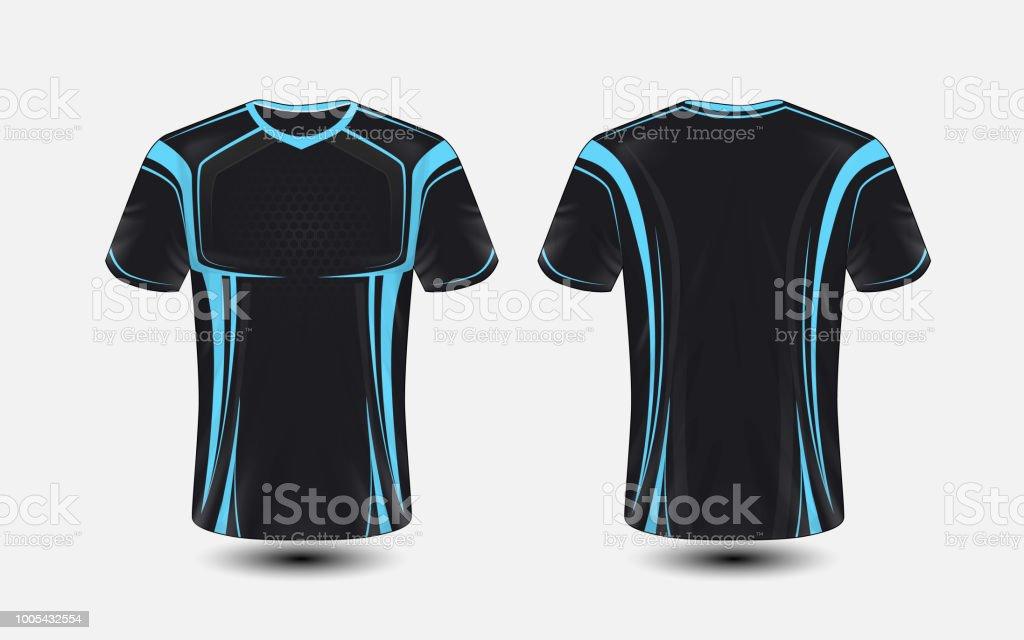 Black And Blue Layout Esport Tshirt Design Template Stock Vector Art