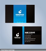 Black and Blue modern business card template, Illustration Vector 10