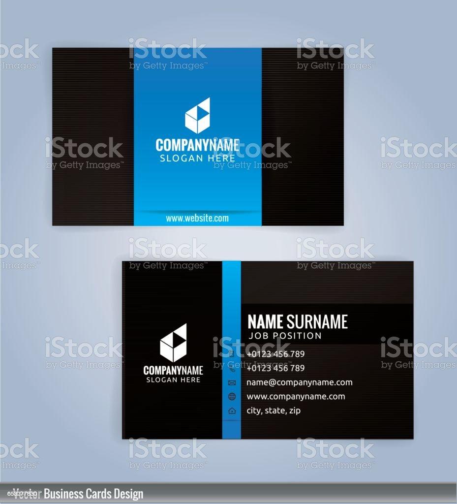 Black and Blue modern business card template vector art illustration
