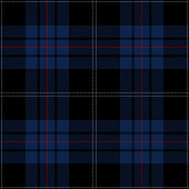 Black, blue and red Scottish tartan plaid seamless textile pattern background.