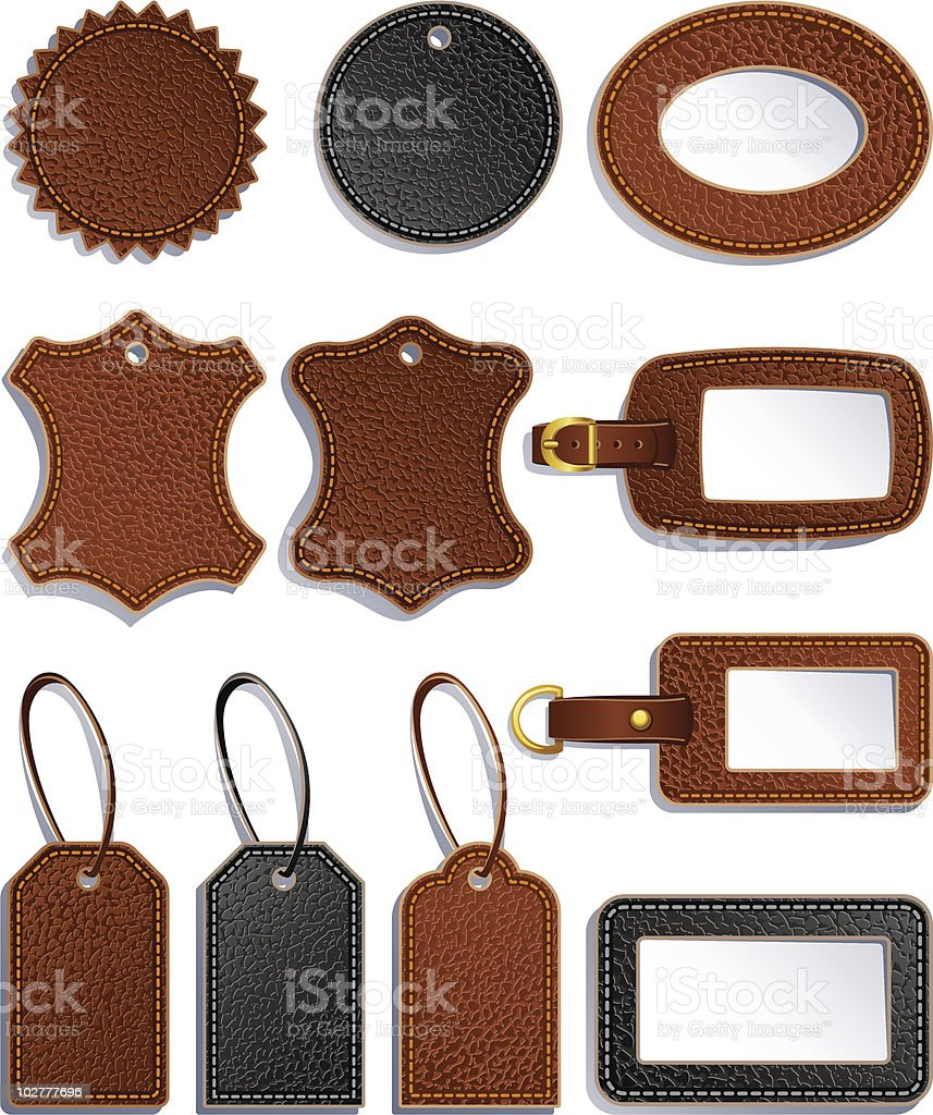 Black and brown leather labels vector art illustration