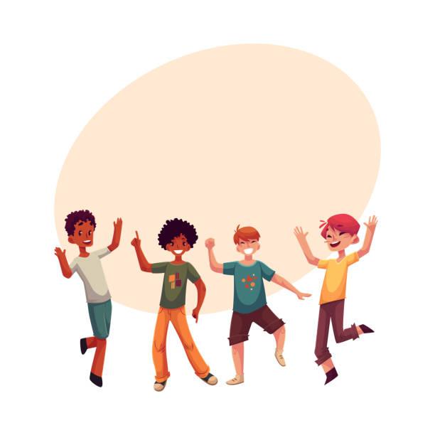 Black and Caucasian boys, kids having fun, dancing at party vector art illustration