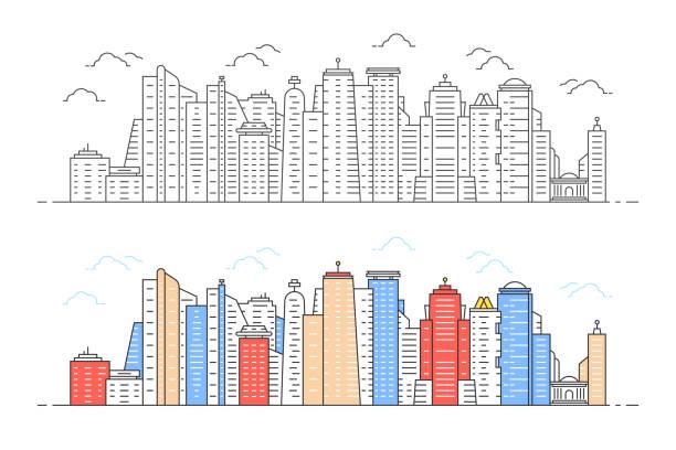 bildbanksillustrationer, clip art samt tecknat material och ikoner med svart och färg linjärt modernt stadsutsikt - illustrationer med hongkong