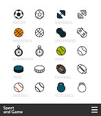 Black and color outline icons, slim line pictograms vector set 46 - Sport and game symbol collection