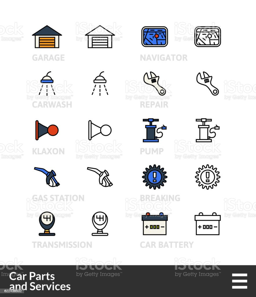 Black And Color Outline Icons Thin Stroke Line Style Design Stock ...