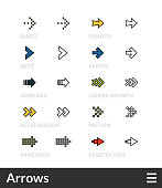 Black and color outline icons, thin stroke line style design