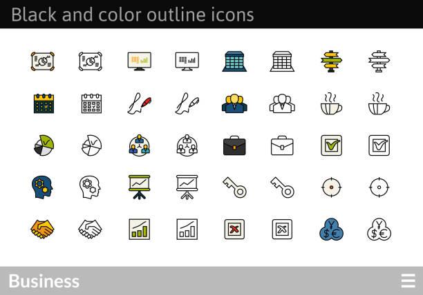 schwarz und farbe gliederung symbole, dünnen strich-linie-style-design - schlüsselfertig stock-grafiken, -clipart, -cartoons und -symbole