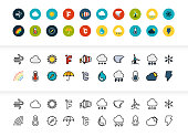 Black and color outline icons thin flat design, modern line stroke style, web and mobile design element, objects and vector illustration icons set 23 - weather collection