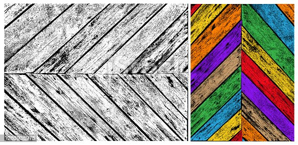 Black and colored geometric wood pattern. Trendy hipster textile background. Retro vintage fabric stripe design. Grayscale wood texture. Bent lines pattern. Vector illustration.