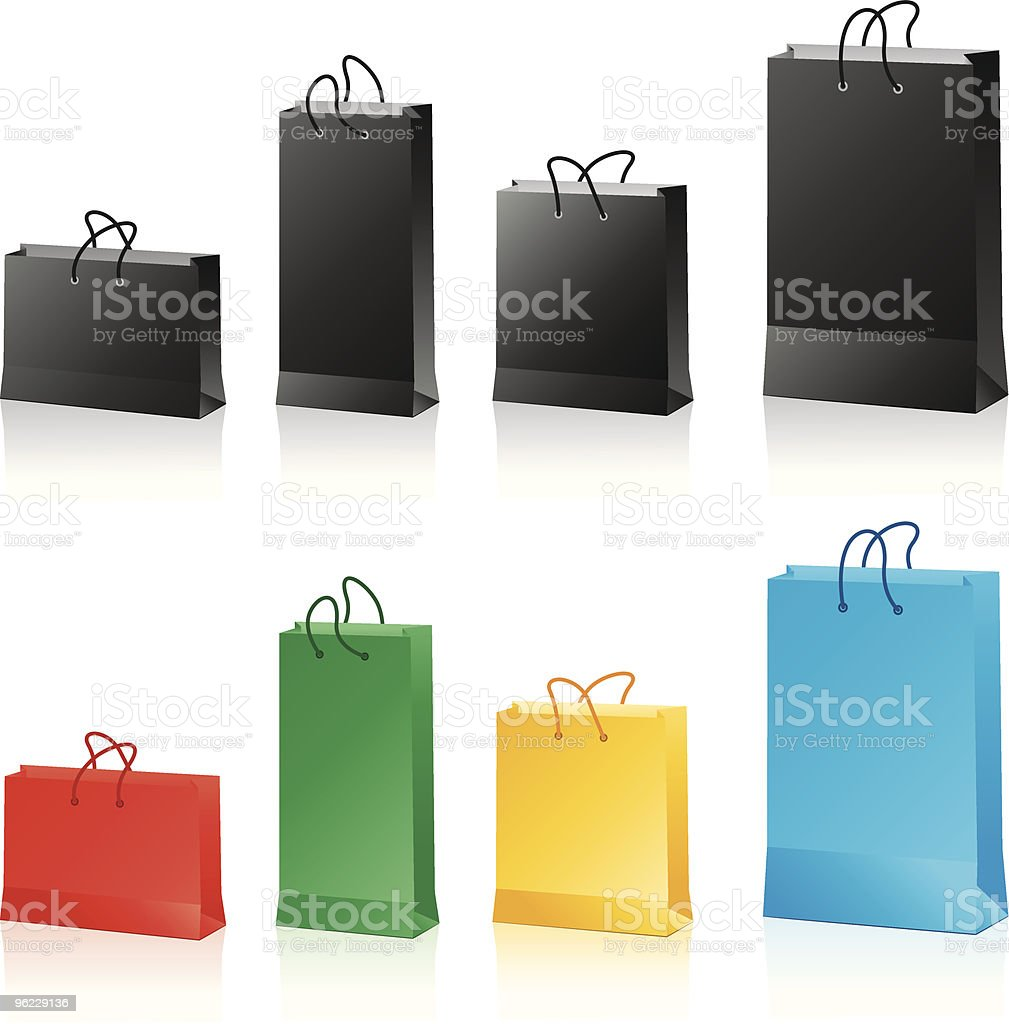 black and colored paper bags royalty-free stock vector art