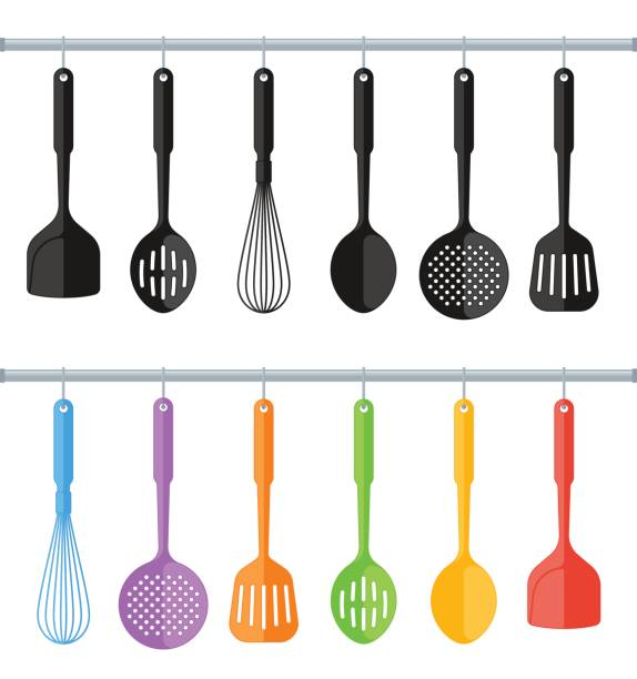 Black and colorful plastic kitchen utensils isolated on white background. Black and colorful hanging plastic kitchen utensil set. Flat concept illustration of cooking tools. Vector cook equipment collection. Group of kitchenware appliances isolated on white background. cooking utensil stock illustrations