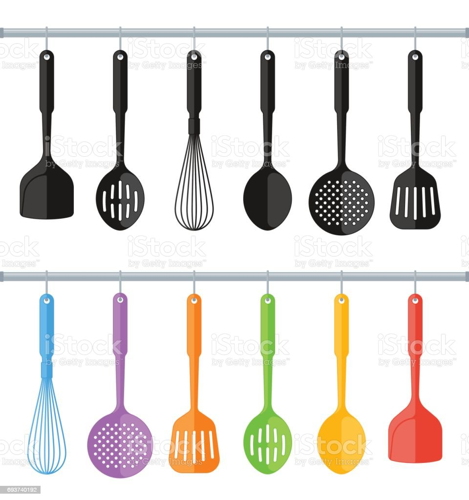 Black And Colorful Plastic Kitchen Utensils Isolated On White Background.  Vector Art Illustration