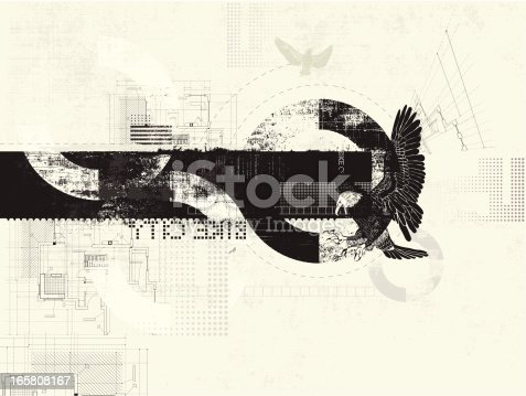 Layered grunge illustration with eagle and technical accents