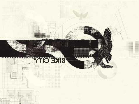 Black and cream grunge background with eagle